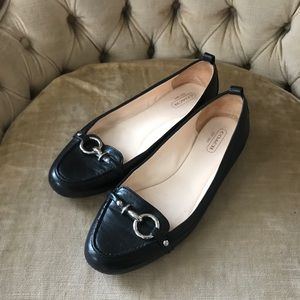 COACH Black Leather Flats